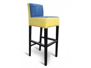 Pohodlná barová židle se zesíleným sedákem, žluto-modrá