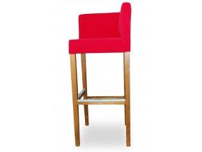 Rohová barová židle se zeštíhleným sedákem, červená vysoká