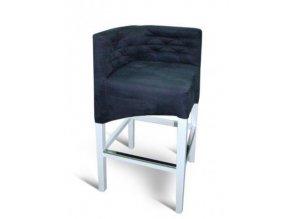 Rohová prošitá barová židle, bílé nohy, tmavá látka