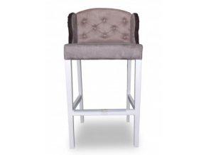 Stylová prošitá barová židle Ears s knoflíky, šedá