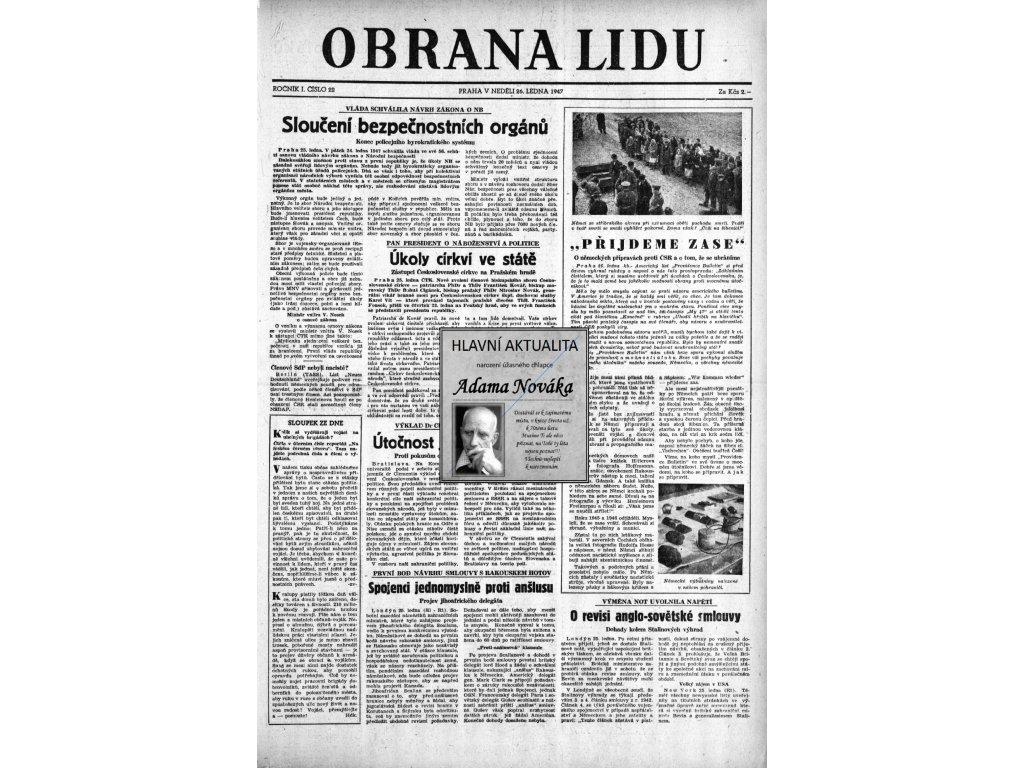 Blahopřání v novinách ze dne narození Obrana lidu 1947 - 1957