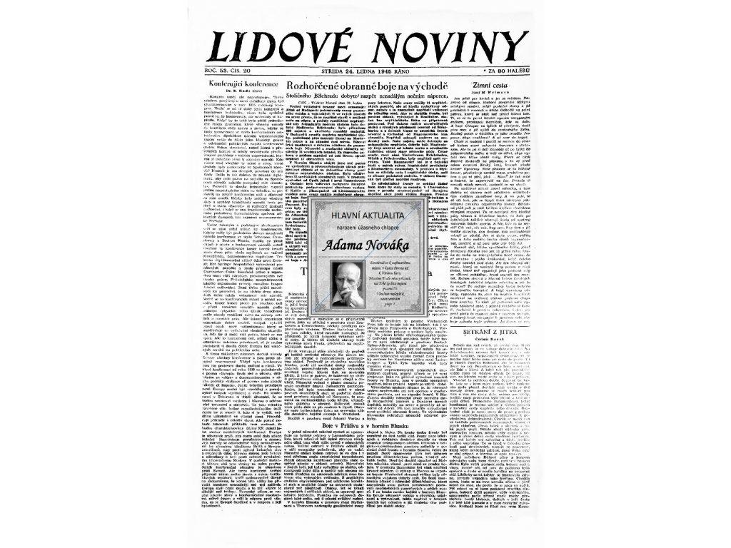 Blahopřání v novinách ze dne narození Lidové noviny 1893 - 1945
