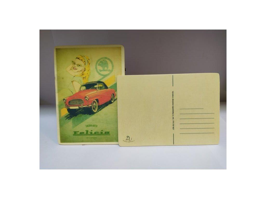 dřevěná pohlednice škoda felicia