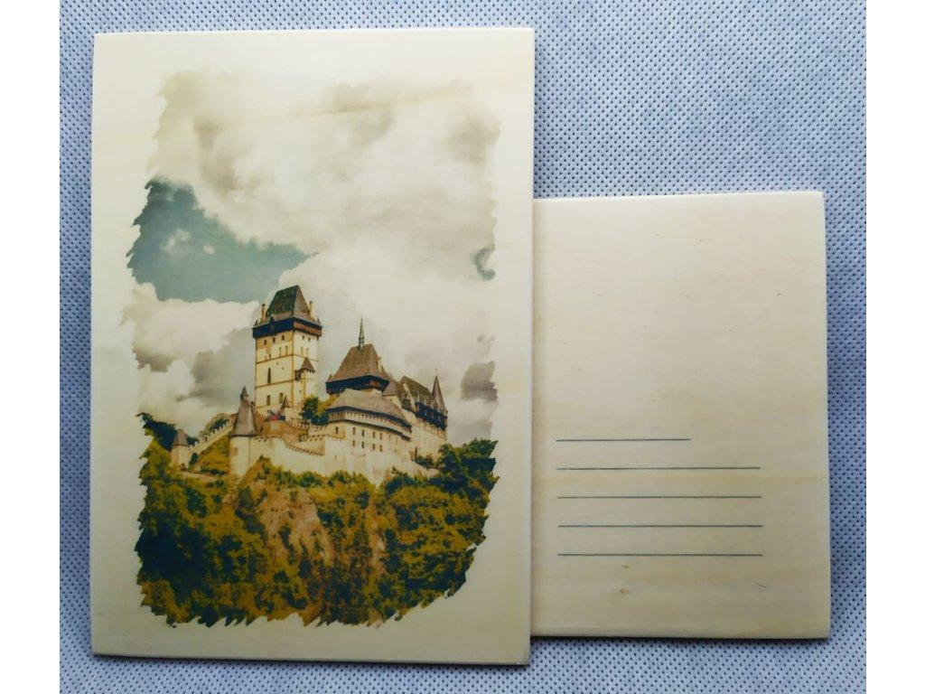 dřevěná pohlednice KARLŠTEJN