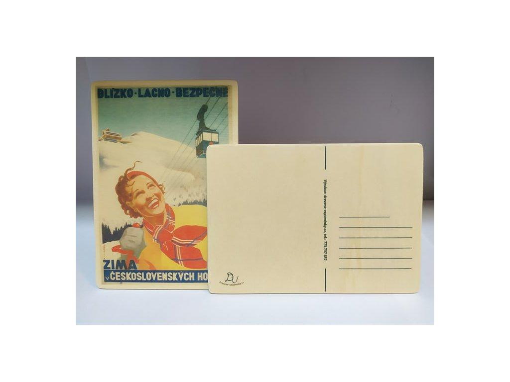 dřevěná pohlednice zima v čs horách