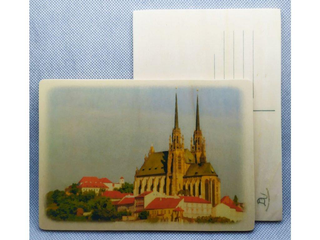 dřevěná pohlednice Brno Petrov
