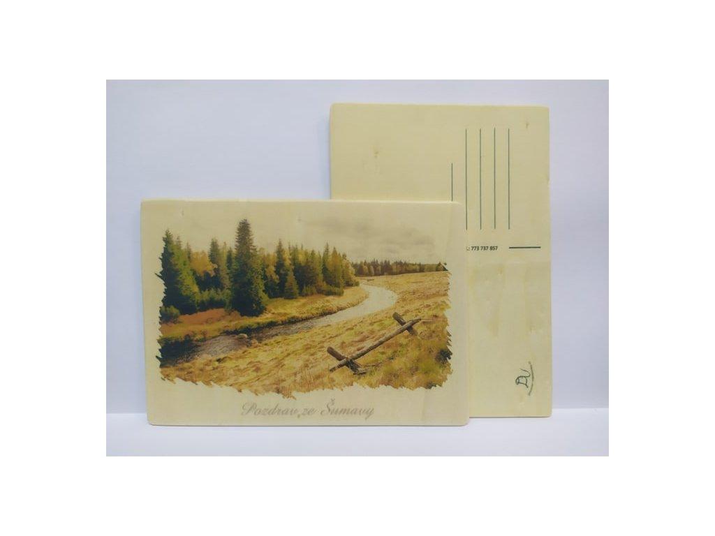 drevena pohlednice šumava