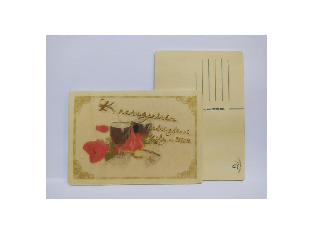 dřevěná pohlednice k narozeninám