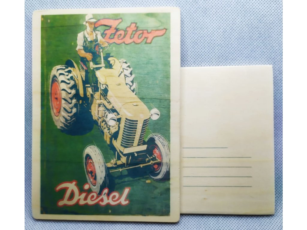 dřevěná pohlednice ZETOR