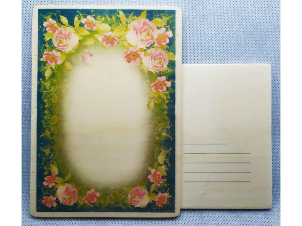 dřevěná pohlednice RŮŽE