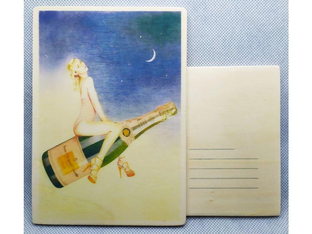 dřevěná pohlednice SEKT