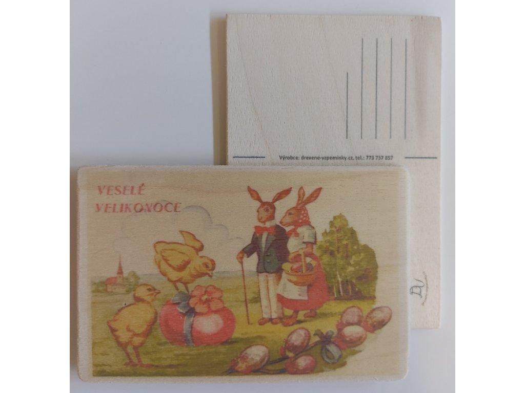 Dřevěná velikonoční pohlednice - Manželé Zajíčkovi