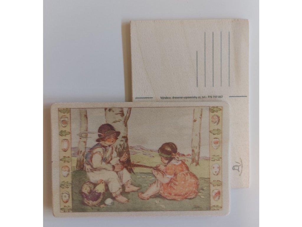 Dřevěná velikonoční pohlednice - Pletení pomlásky