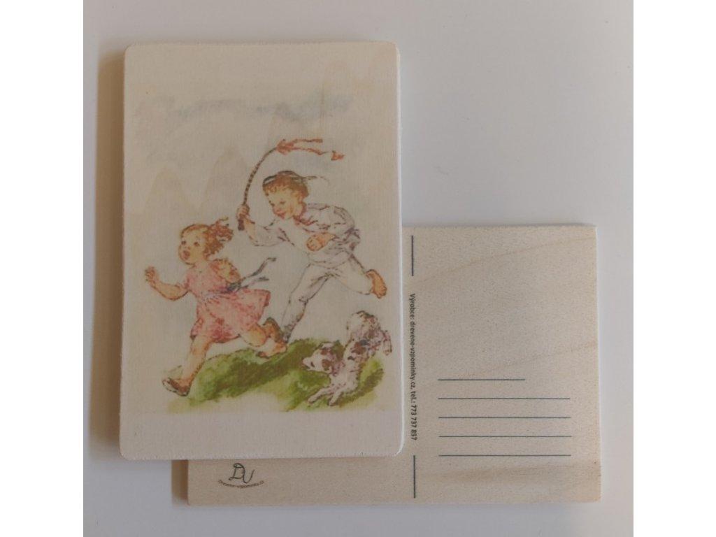 Dřevěná velikonoční pohlednice - Hody hody