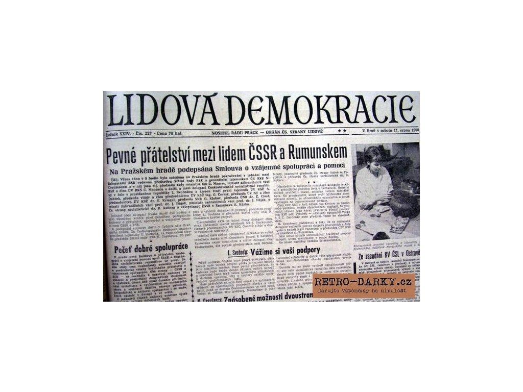 Noviny ze dne narození - Lidová demokracie