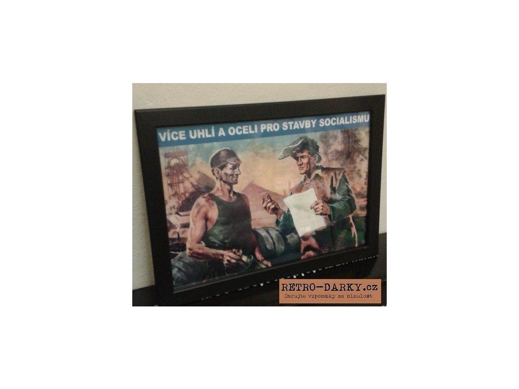 Budovatelský plakát / Plechová cedule - Více uhlí...