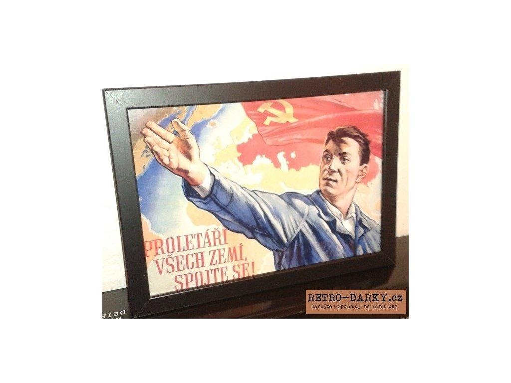 Budovatelský plakát / Plechová cedule - Proletáři...