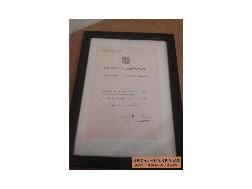 Dekret o jmenování jako retro dárek