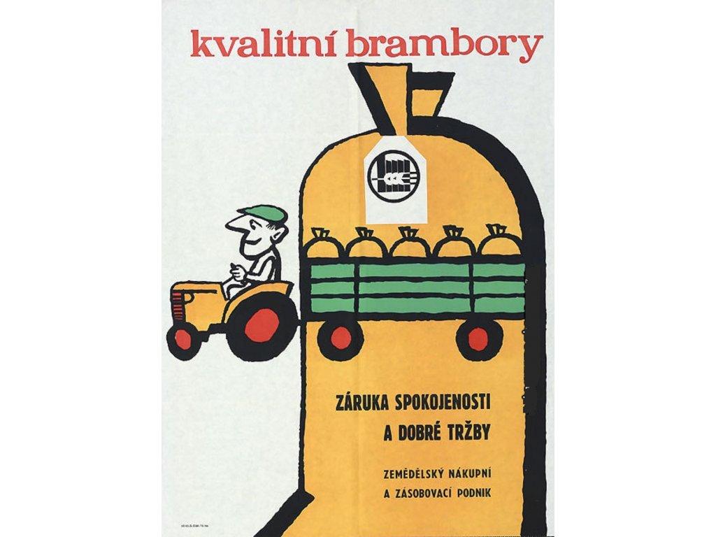 Plechová retro cedule / plakát - Kvalitní brambory