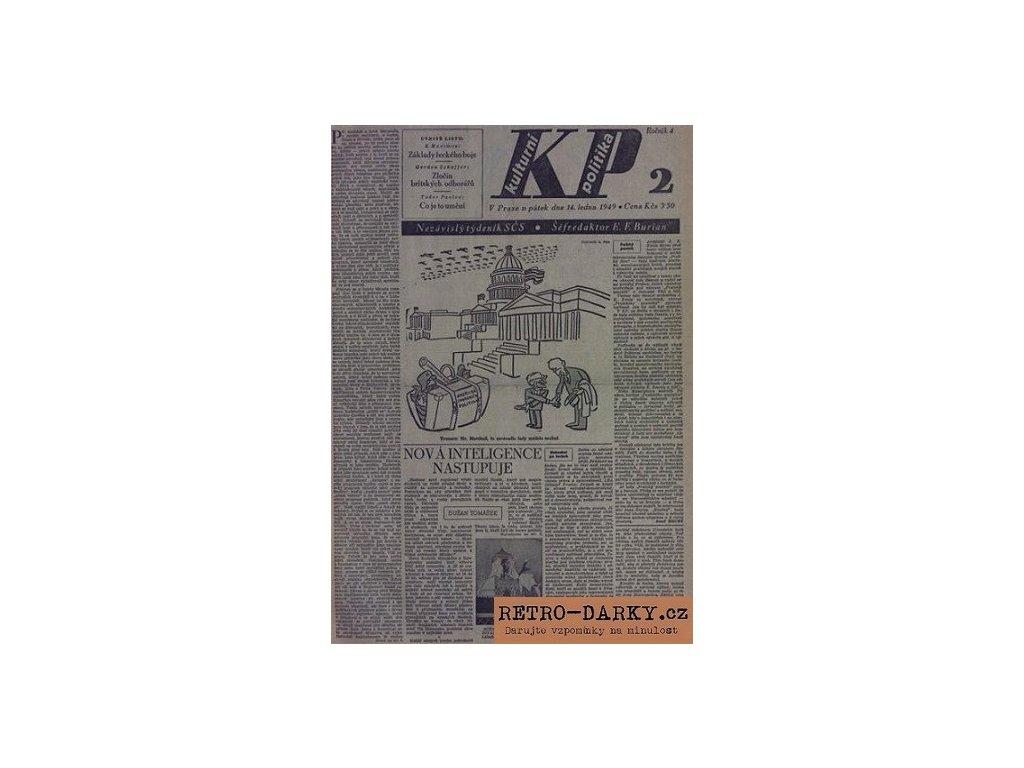 Noviny z data narození - Kult. politika 1945 - 1949 + Úvodní strana v rámu