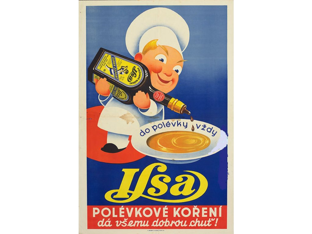 Plechová retro cedule / plakát - Polévkové koření Ilsa