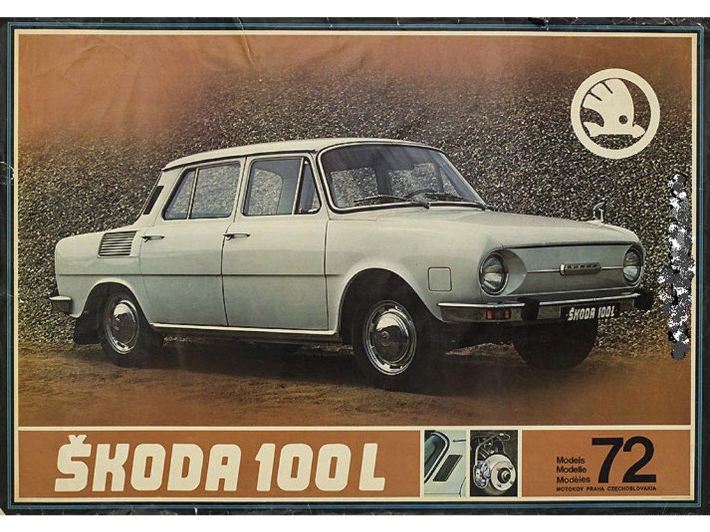 Plechová retro cedule / plakát - Škoda 100L