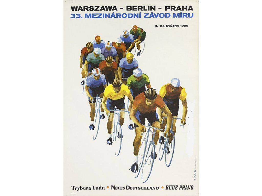 Sportovní plakát / Plechová cedule - Závod míru 1980