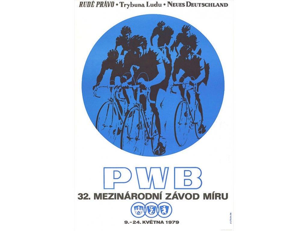 Sportovní plakát / Plechová cedule - Závod míru 1979