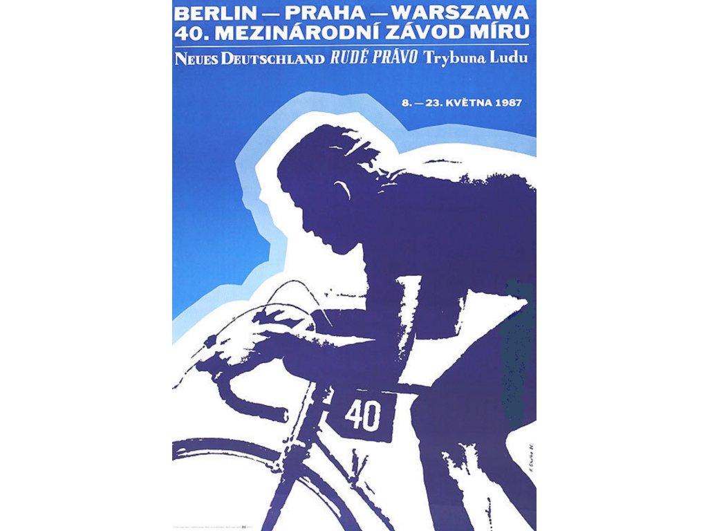 Sportovní plakát / Plechová cedule - Závod míru 1987