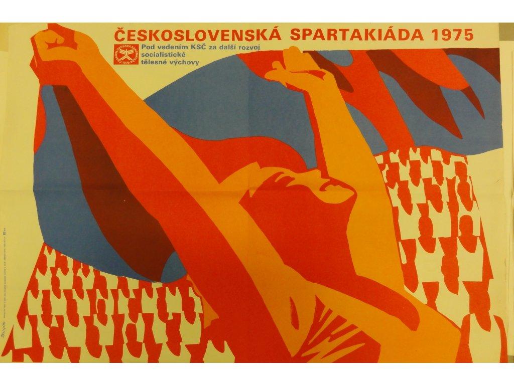 Plechová retro cedule / plakát - Spartakiáda 1975