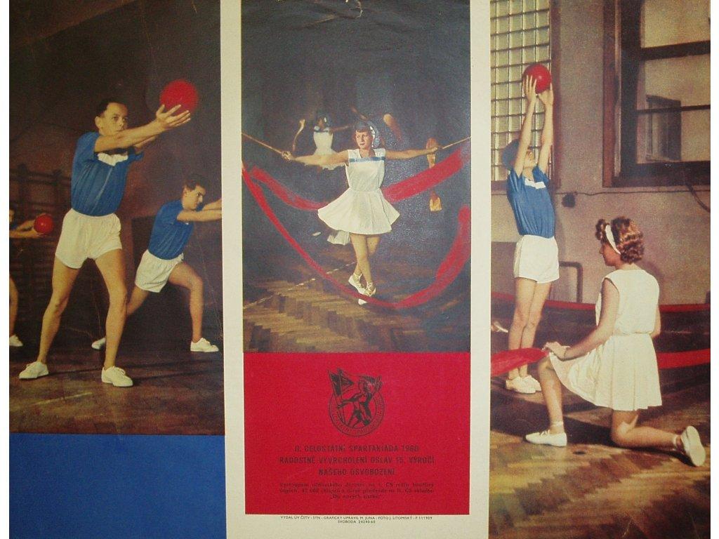 Plechová retro cedule / plakát - Spartakiáda 1960
