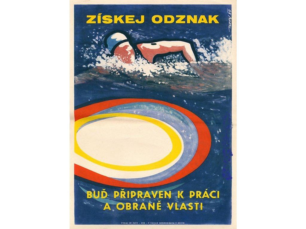 Plechová retro cedule / plakát - Získej odznak