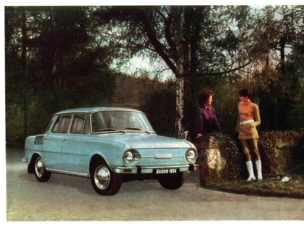 Plechová retro cedule / plakát - Škoda 100L - ll