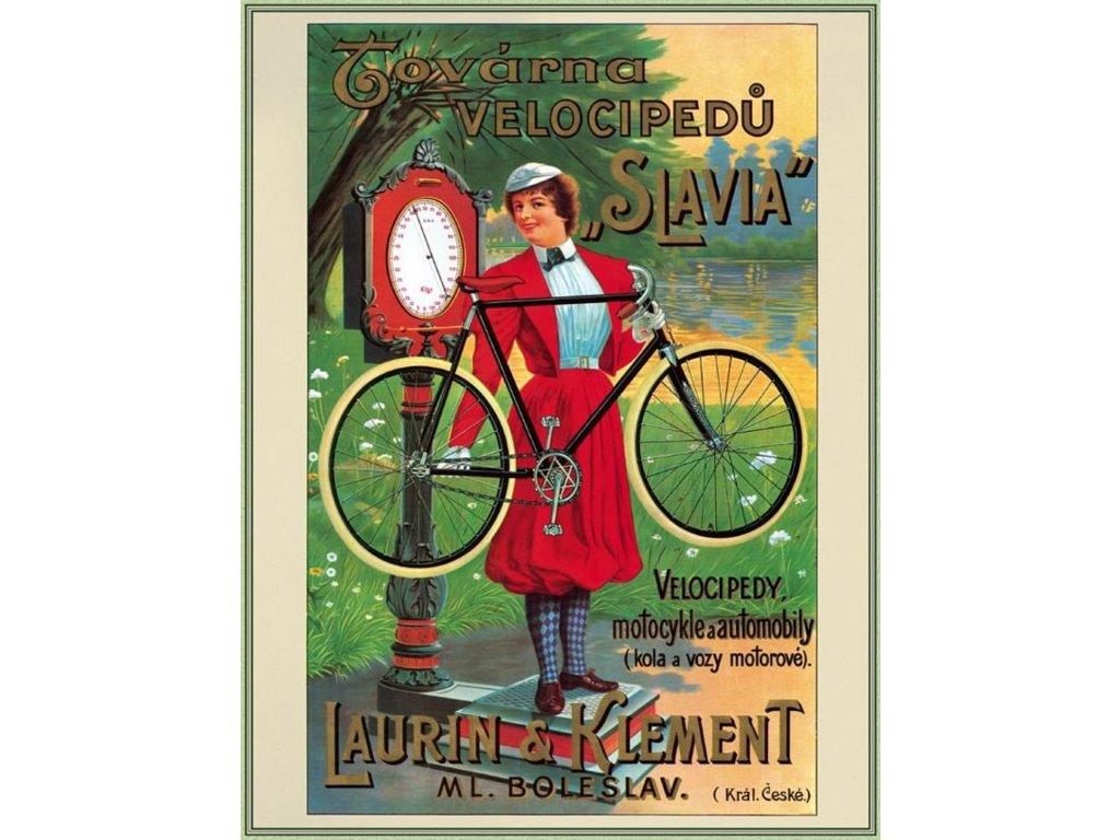 Plechová retro cedule / plakát - Továrna velocipedů