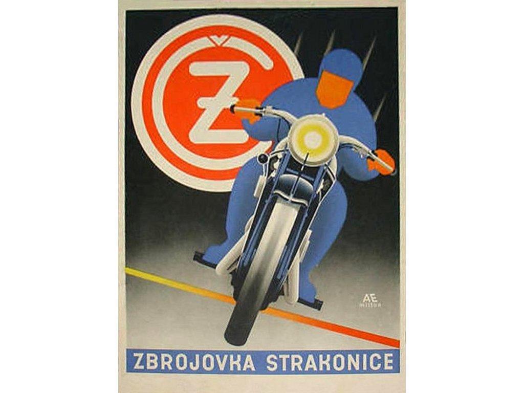 Plechová retro cedule / plakát - Zbrojovka Strakonice