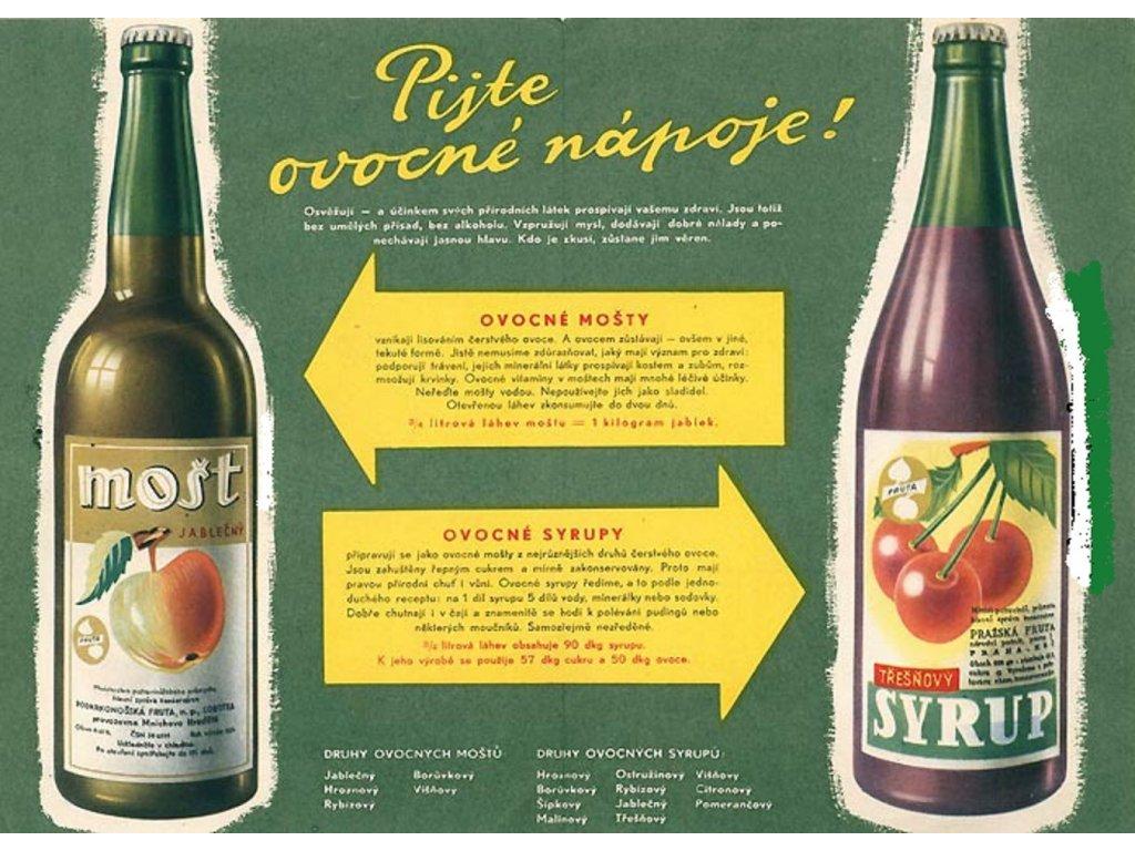 Plechová retro cedule / plakát - Pijte ovocné nápoje