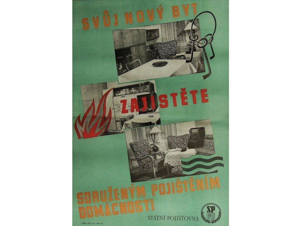 Plechová retro cedule / plakát - Svůj nový byt