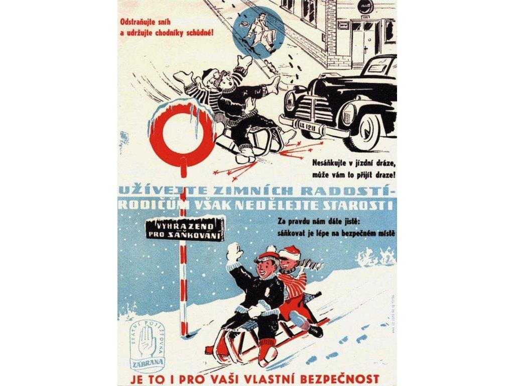 Plechová retro cedule / plakát - Užívejte zimních radostí