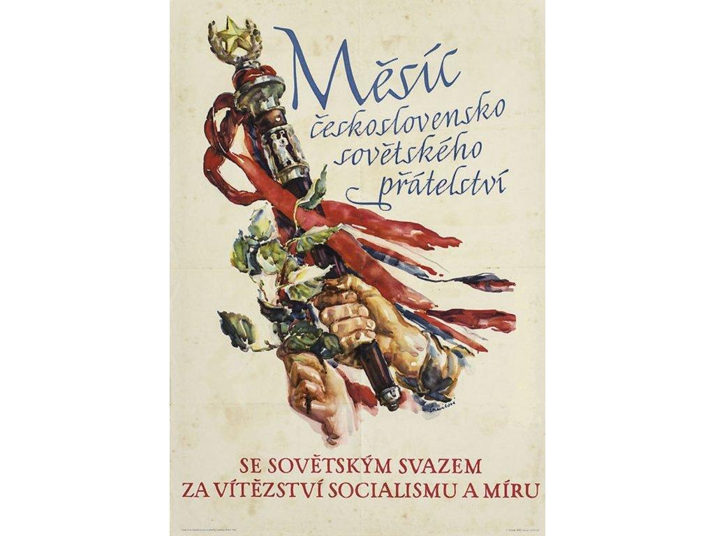 Budovatelský plakát / Plechová cedule - Měsíc československo - sovětského...