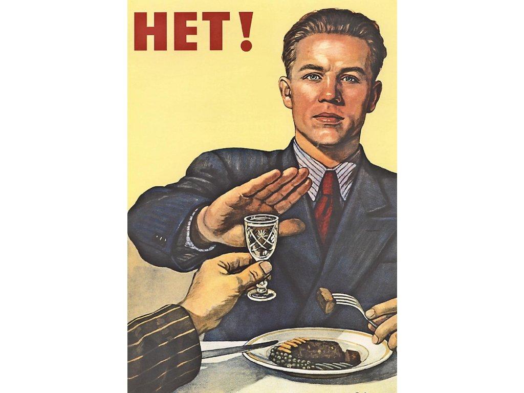 Budovatelský plakát / Plechová cedule - HET!
