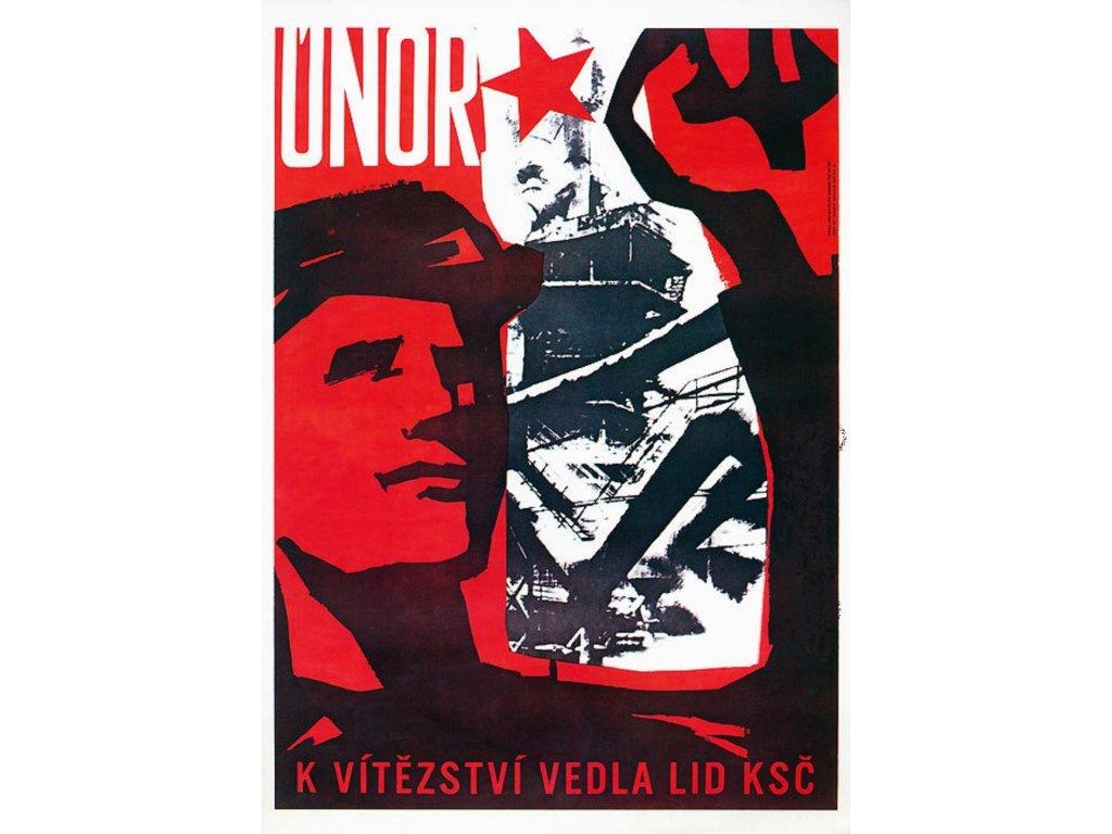 Plechová retro cedule / plakát - Únor