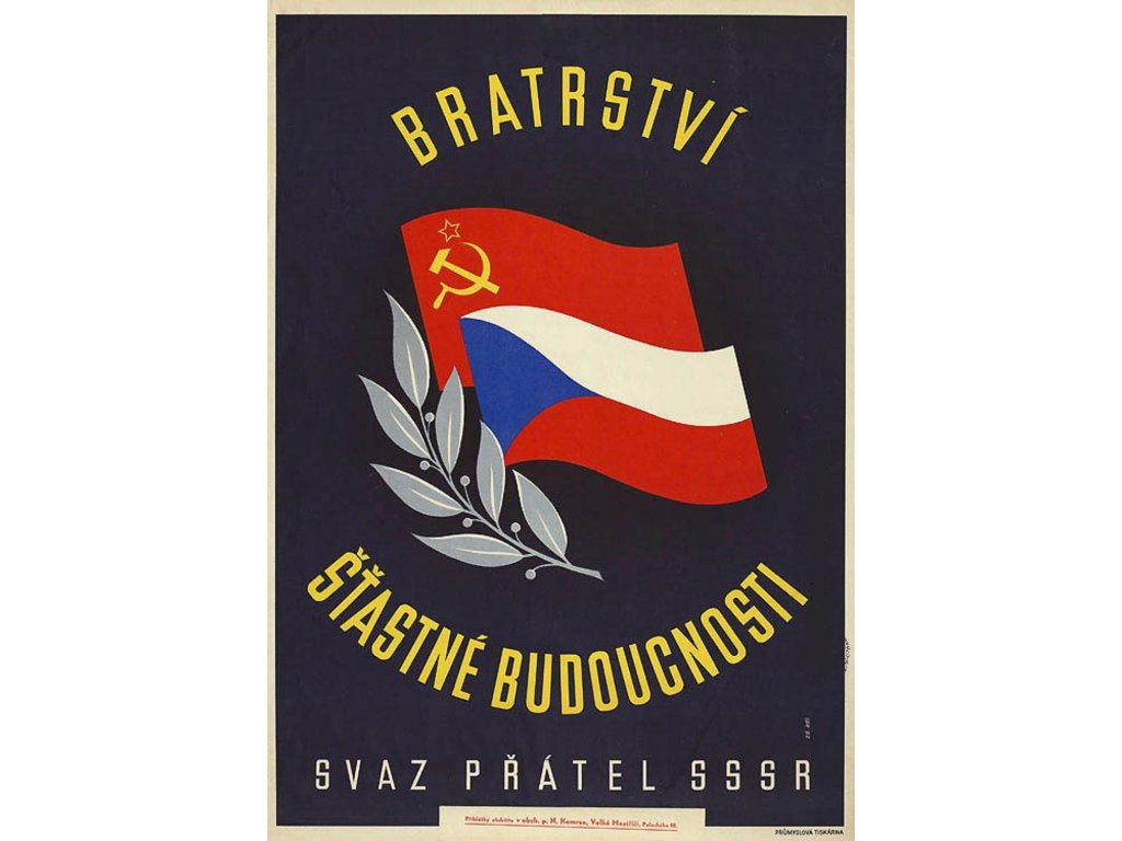 Budovatelský plakát / Plechová cedule - Svaz přátel SSSR