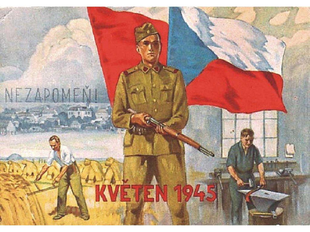 Budovatelský plakát / Plechová cedule - Květen 1945