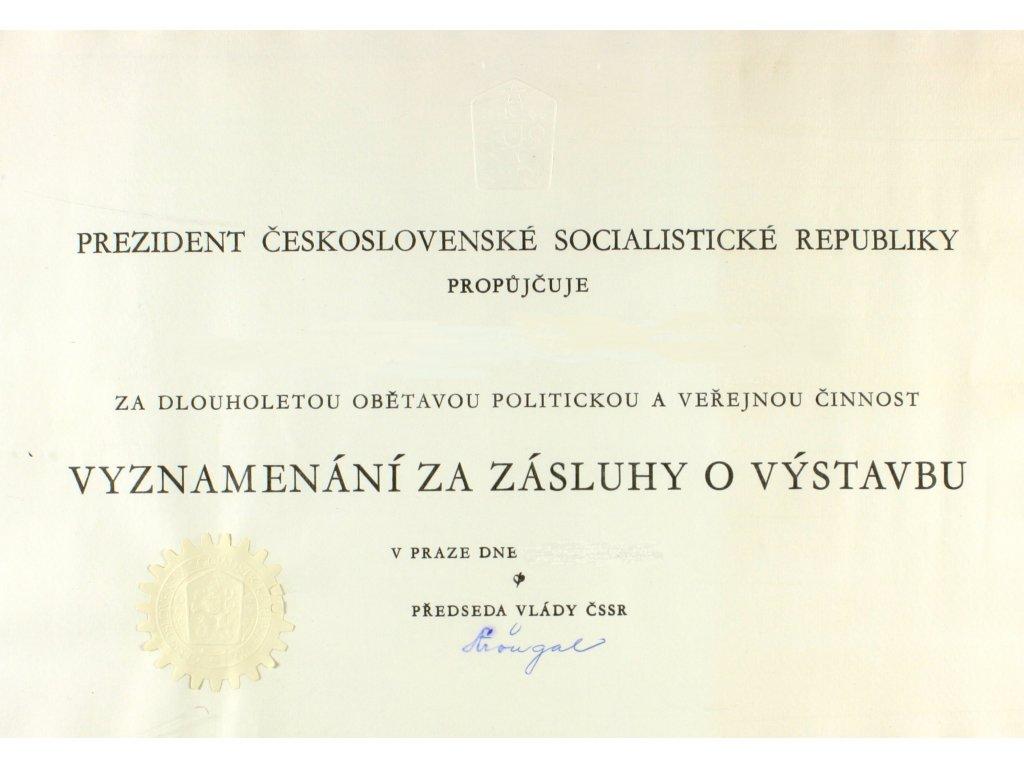 Vyznamenání za zásluhy o výstavbu od soudruha Štrougala