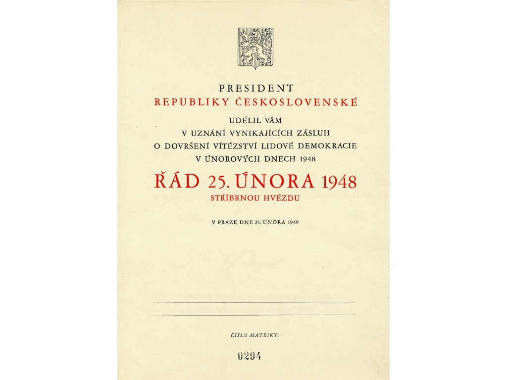 Řád 25. února 1948 jako retro dárek