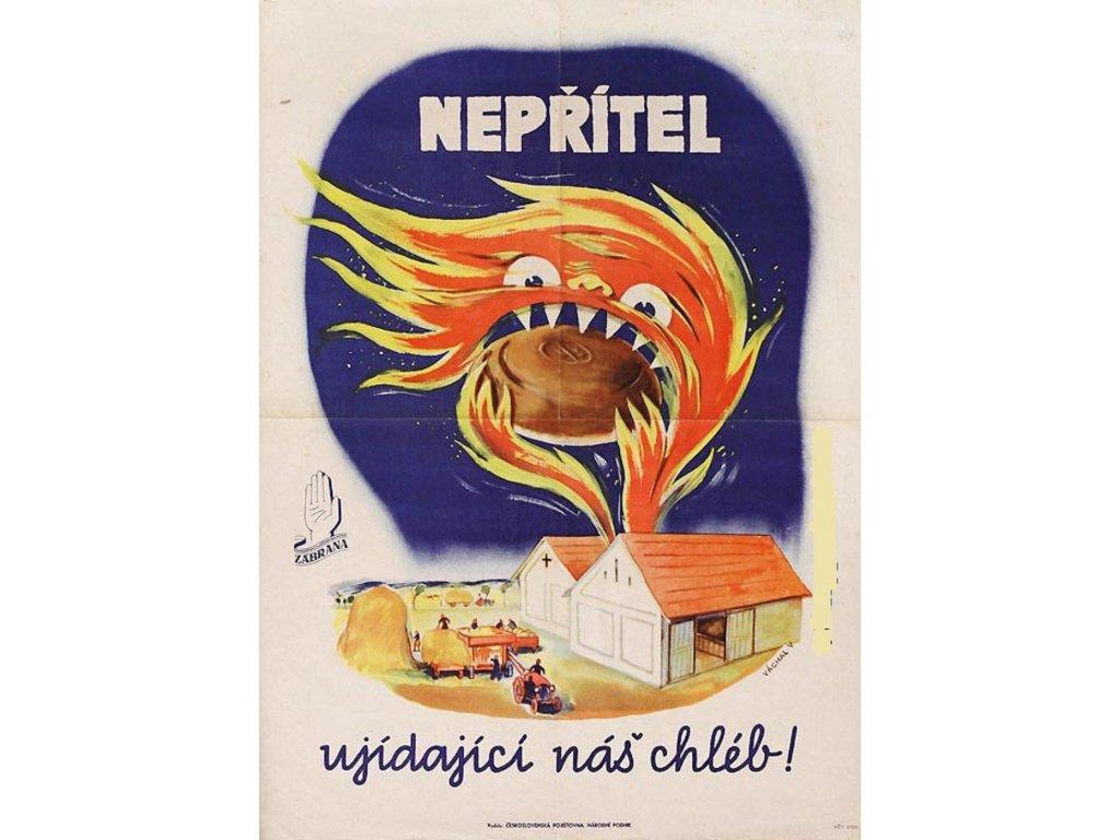 Plechová retro cedule / plakát - Nepřítel ujídající náš chléb