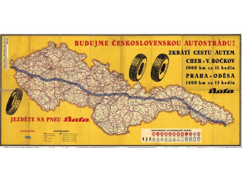 Plechová retro cedule / plakát - Budujme Československou autostrádu