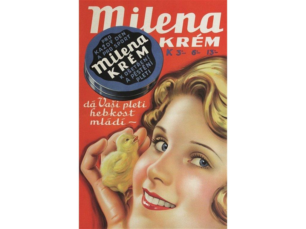 Plechová retro cedule / plakát - Milena krém