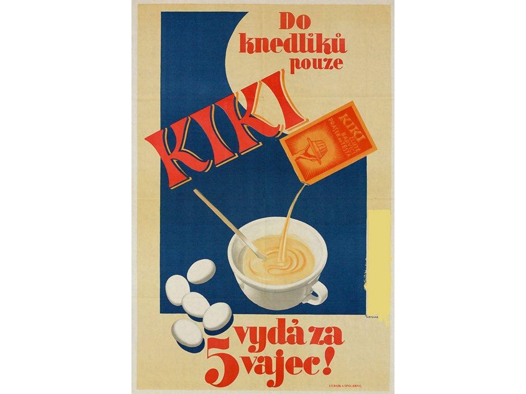 Plechová retro cedule / plakát - Do knedlíků pouze Kiki