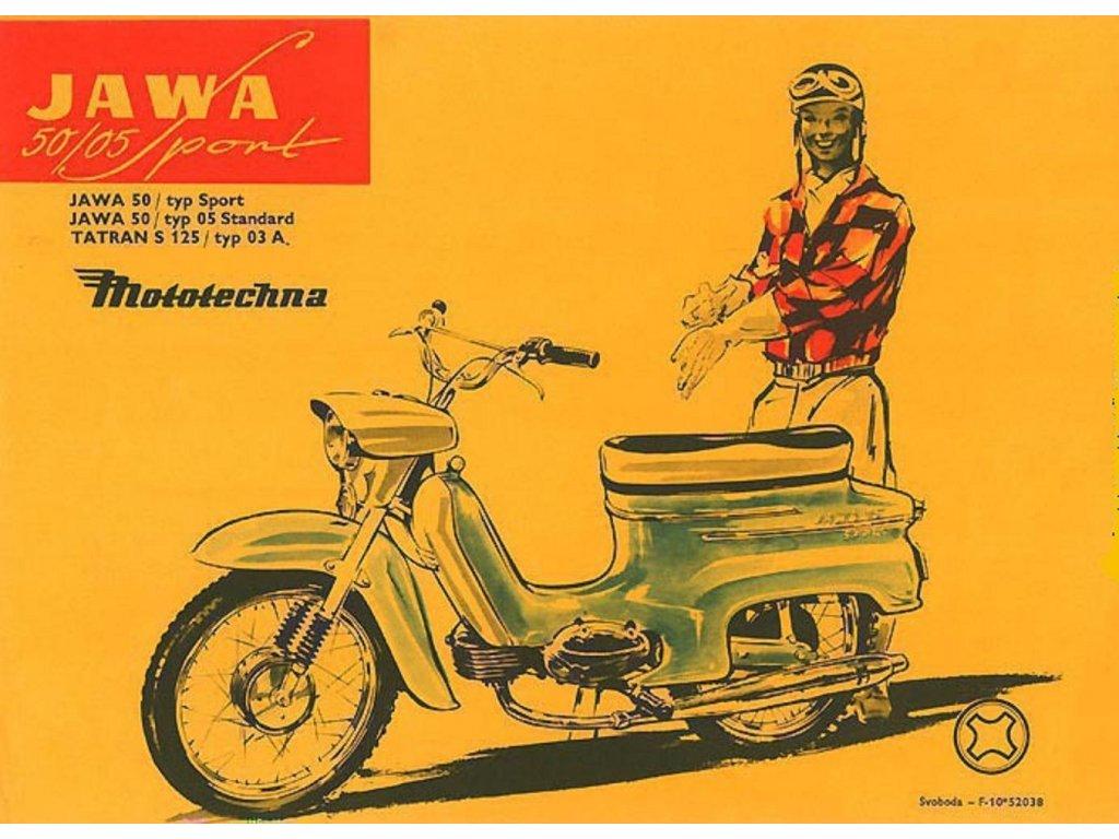 Plechová retro cedule / plakát - Jawa 50